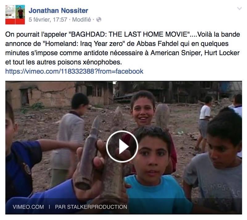 Commentaire du réalisateur américain Jonathan Nossiter تعليق المخرج الأميركي العالمي جوناثان نوسيتر