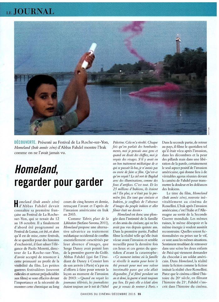 A lire dans Les Cahiers du Cinéma, n° 717, décembre 2015