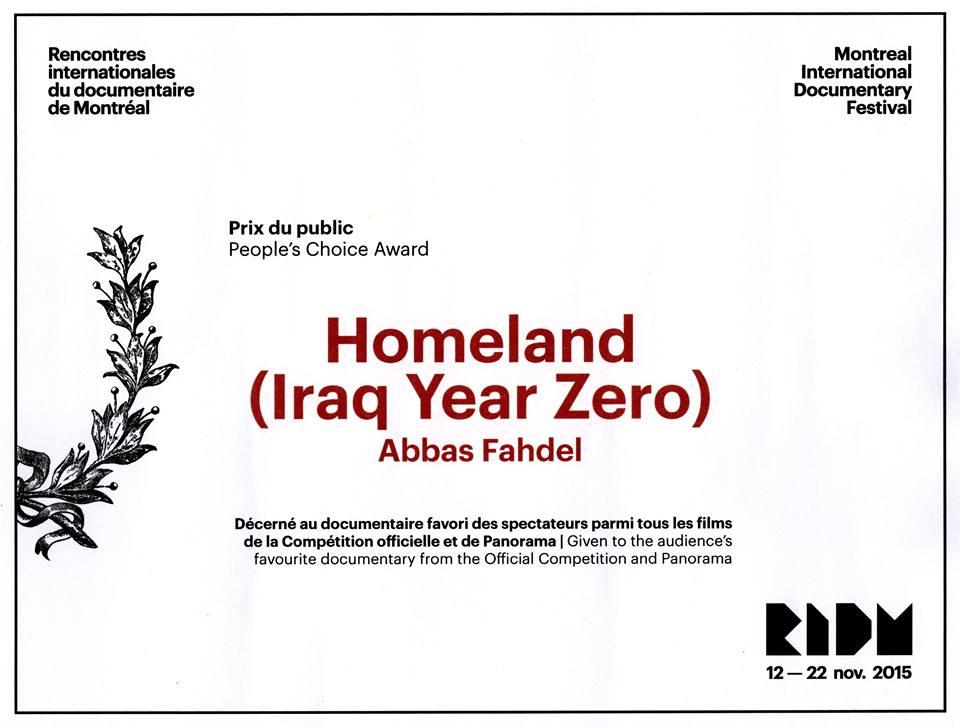 Homeland : Iraq Year Zero remporte les deux principaux prix des RIDM (Rencontres Internationales du Documentaire de Montréal): Le Grand Prix  Le Prix du Public