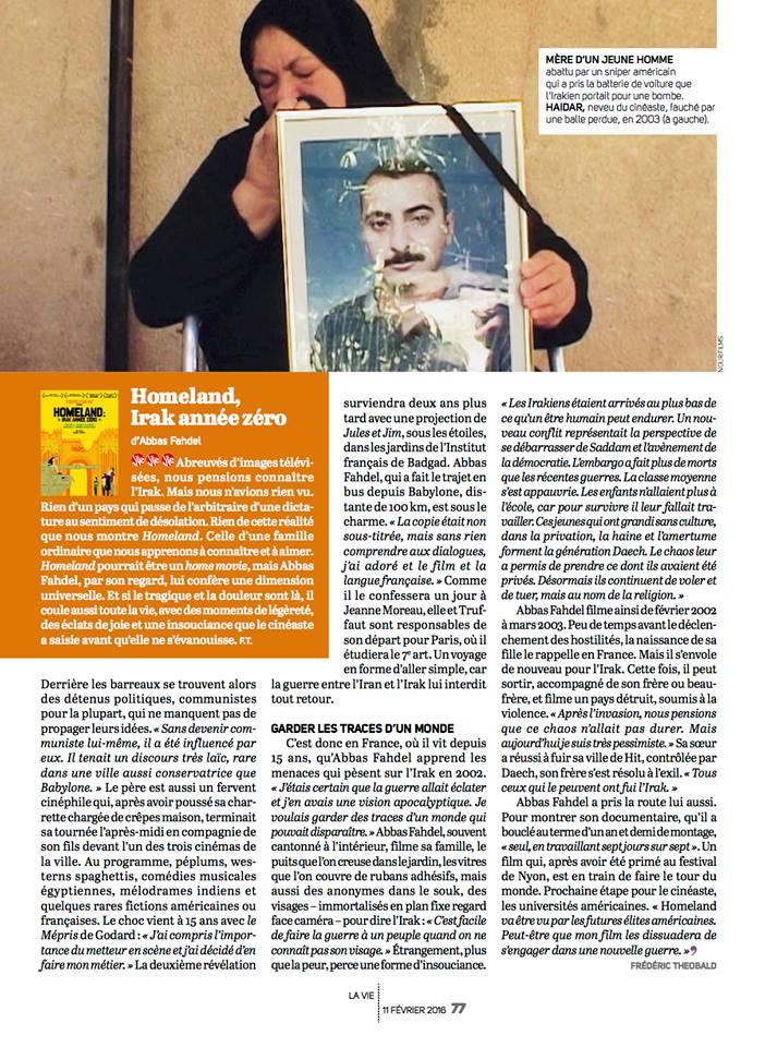 Article et interview dans La Vie 2