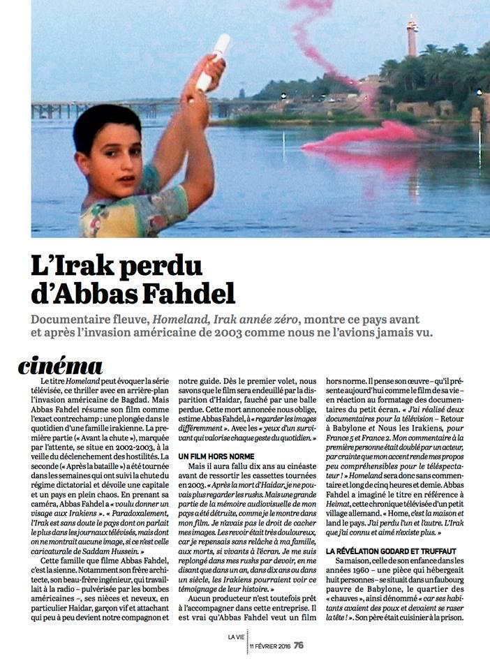 Article et interview dans La Vie