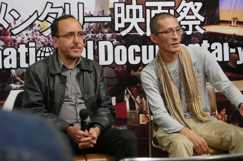 Au Yamagata International Documentary Film Festival (official), avec l'ami réalisateur Toshi Fujiwara, photographiés par son chef-opérateur Takanobu Kato.