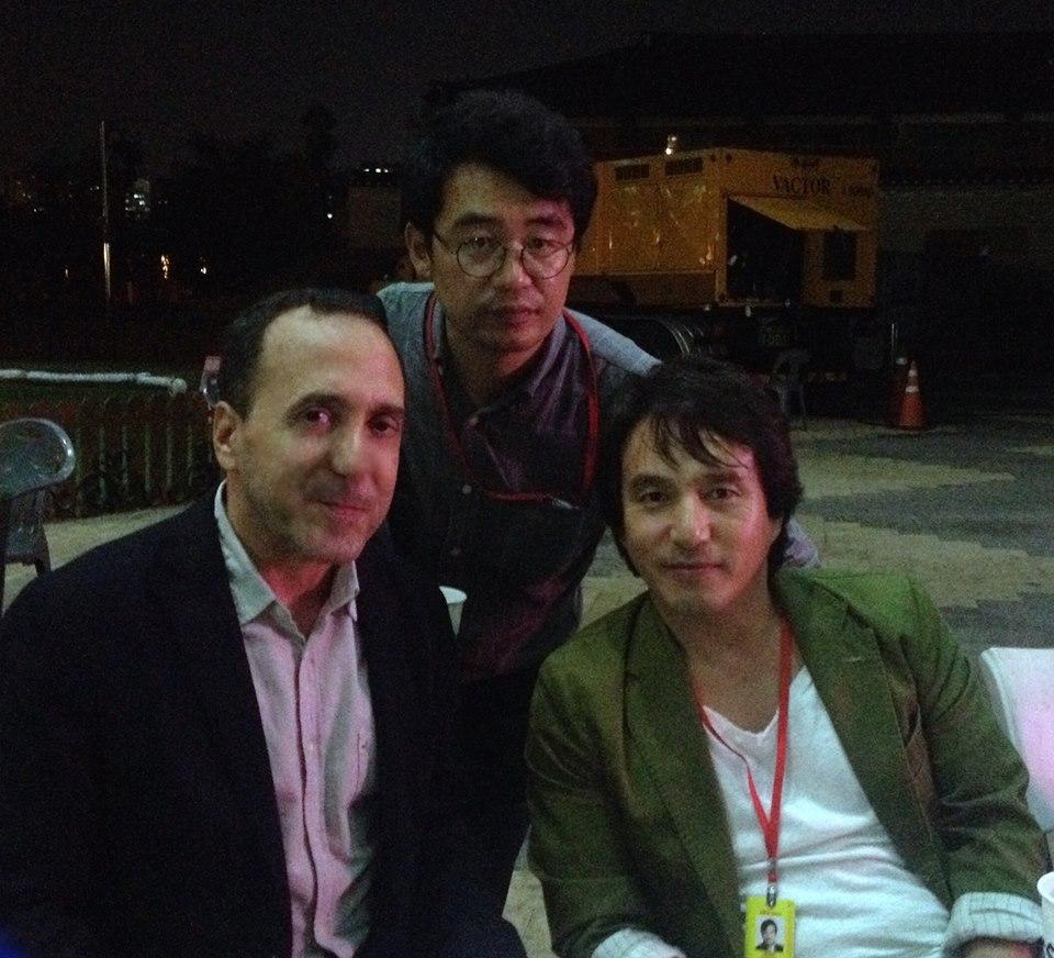 Avec Jeon Sung-kwon, directeur du festival DMZ DOCS, et Jo Jae-hyeon, star du cinéma coréen et acteur fétiche de Kim Ki-duk